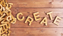The word create with wood blocks