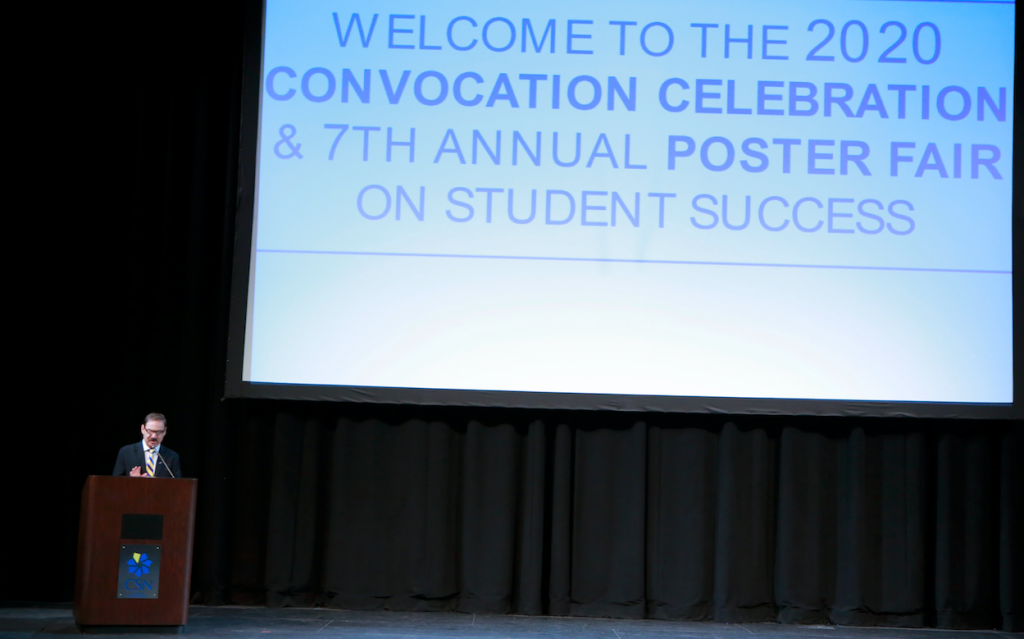 CSN President Dr. Federico Zaragoza speaks at the Spring 2020 convocation