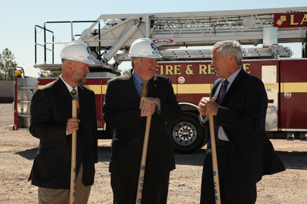 Regent Chair James Dean Leavitt, CSN President Dr. Michael Richards and NSHE Chancellor Dan Klaich at the Fire Station/Instructional Center groundbreaking on Sept. 30, 2009.
