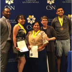 CSN History Professor Dr. Sondra Cosgrove with graduates at the Native American commencement celebration last week.