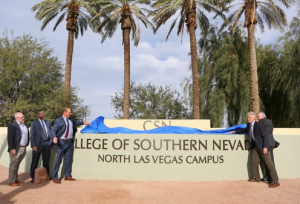 City of North Las Vegas and Nevada System of Higher Education officials unveil the new monument sign for the North Las Vegas Campus.
