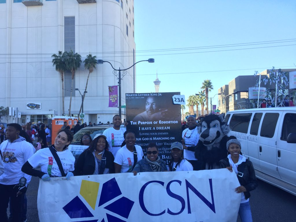 CSN was well represented at the 35th Annual Martin Luther King Jr. Day Parade in downtown Las Vegas, billed as one of the largest such parades in the west. The African American Heritage Committee participated in the parade, whose theme this year was Living the Dream: The Movement Continues.