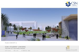 An artist's rendering of a proposed student union at CSN
