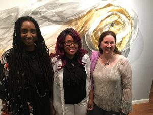 CSN Professor Erica Vital-Lazare, CSN Student Alexis Parsha, CSN Professor DeAnna Beachley (left to right), as they attend the closing event of A Room of One's Own at the Left of Center Art Gallery on Saturday, March 25